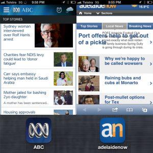 ABC news app vs Adelaide Now